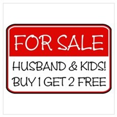4SALE HUSB/KIDS (red) Poster