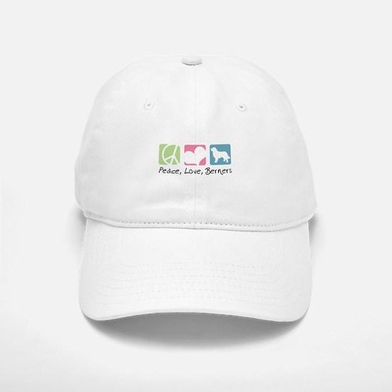 Peace, Love, Berners Baseball Baseball Cap
