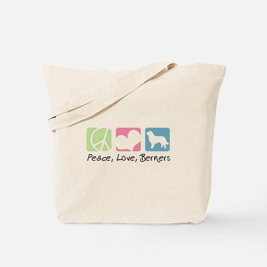 Peace, Love, Berners Tote Bag