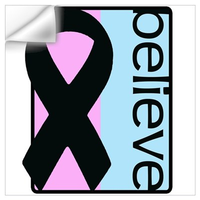 Pink and Blue (Believe) Ribbon Wall Decal