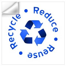 Blue Reduce Reuse Recycle Wall Decal