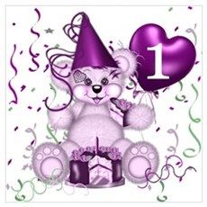 BIRTHDAY AGE: 1 (purple) Framed Print