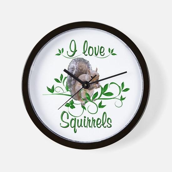 I Love Squirrels Wall Clock