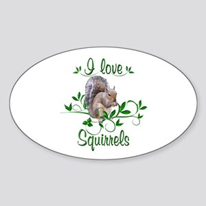 I Love Squirrels Sticker (Oval)