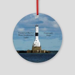 Conneaut Harbor West Breakwater Round Ornament