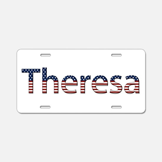 Theresa Stars and Stripes Aluminum License Plate