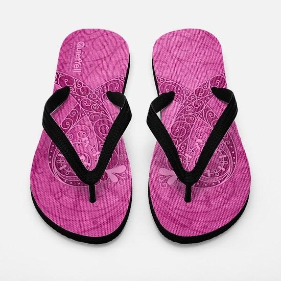 Think Pink Curly Ribbon DK Flip Flops