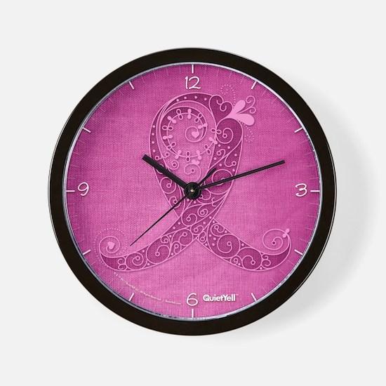 Think Pink Curly Ribbon DK Wall Clock