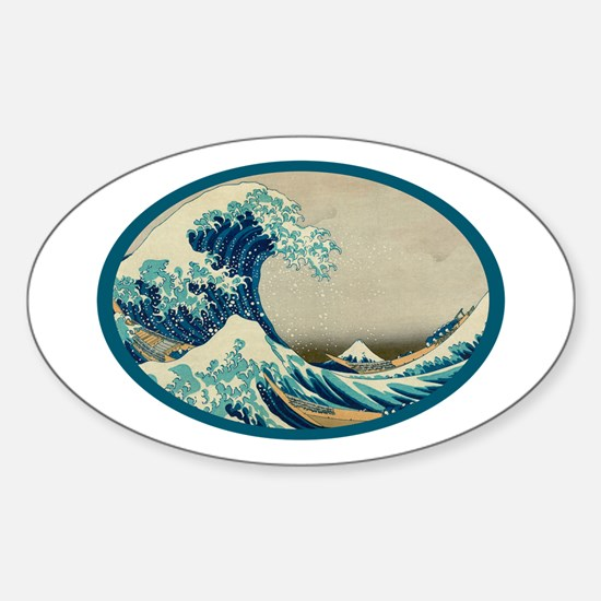 Kanagawa great wave Sticker (Oval)