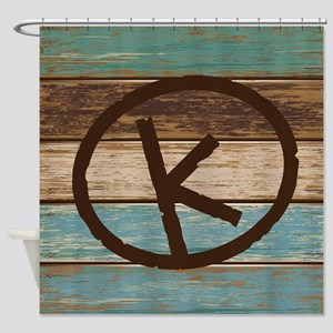 Branding Iron K Wood Shower Curtain