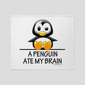 A Penguin Ate My Brain Throw Blanket