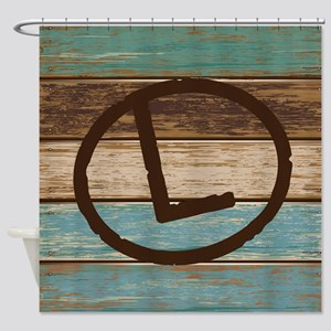L Branding Iron Letter Gift Shower Curtain