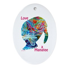 Manatees of Many Colors Ornament (Oval)