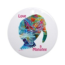Manatees of Many Colors Ornament (Round)