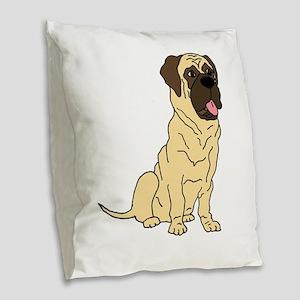 Cute English Mastiff Dog Burlap Throw Pillow