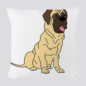 Cute English Mastiff Dog Woven Throw Pillow