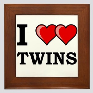 I Heart Twins Framed Tile
