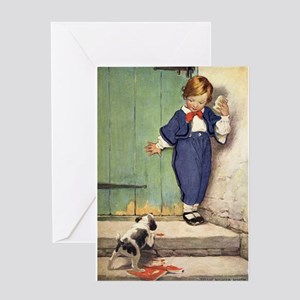 Toddler and Puppy Greeting Card