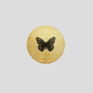Butterfly Parchment Print Mini Button