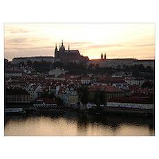 Prague Castle at Sunset Poster