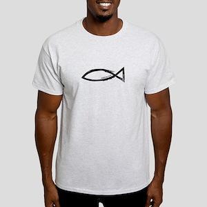 Ichthys (Jesus Fish) - Matthew 4:19 Light T-Shirt