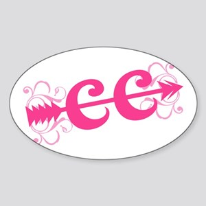 Pink CC Cross Country Sticker (Oval)