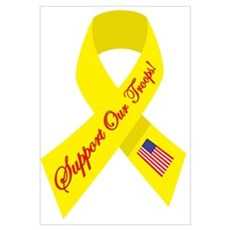 Support Our Troops Ribbon Framed Print