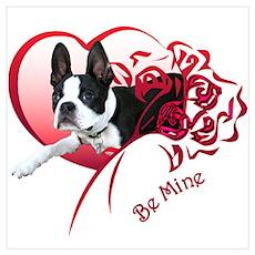 Valentine Boston Terrier Poster