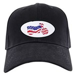 Patriotic Motorcycle Flag Black Cap With Patch