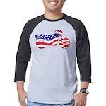 Patriotic Motorcycle Flag Mens Baseball Tee