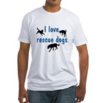 I Love Rescue Dogs Fitted T-Shirt