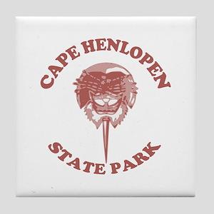 Cape Henlopen DE - Horseshoe Design Tile Coaster