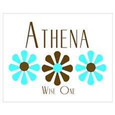 Athena - Blue/Brown Flowers Poster