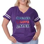 Peace-Love-Sled Women's Plus Size Football T-Shirt