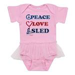 Peace-Love-Sled Baby Tutu Bodysuit
