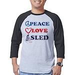 Peace-Love-Sled Mens Baseball Tee