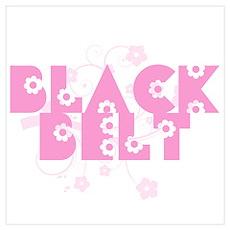 Pink Floral Black Belt Poster