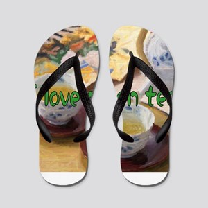 I love green tea Flip Flops