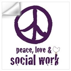 Peace, Love, & Social Work Wall Decal