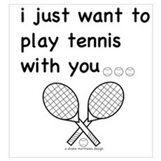 i just want to play tennis with you... Large Poste Framed Print