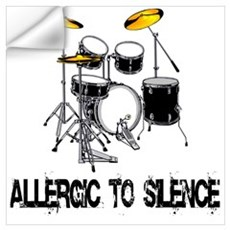 Allergic to silence drummer Wall Decal