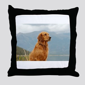Golden Retriever Lake Throw Pillow