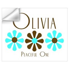 Olivia - Blue/Brown Flowers Wall Decal