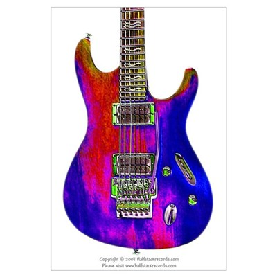 """Blue Flame"" Guitar Poster"
