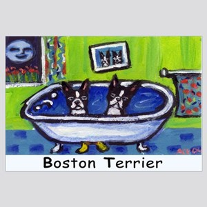 BOSTON TERRIER two in bath de