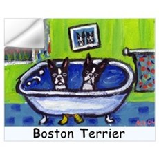 BOSTON TERRIER two in bath de Wall Decal