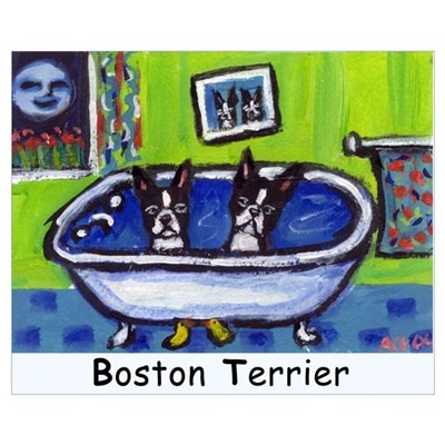 BOSTON TERRIER two in bath de Canvas Art
