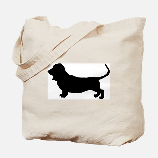 Basset Hound Silhouette Tote Bag