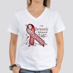 I Wear Burgundy Becase I Love Women's V-Neck T-Shi