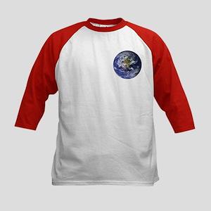 Blue Marble Earth Kids Baseball Jersey